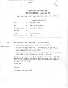 Fax from Eric Drossart to Mark H. McCormack