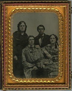 Family portrait: half-length portrait, seated, of Cornelia Scott Dickinson and Rufus Porter Scott (back row), and Aaron Scott and Hannah Scott Clarke children (front row)