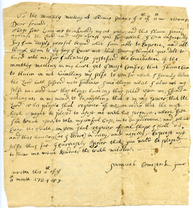 Samuel Comstock petition to the meeting at Thomas Smith's