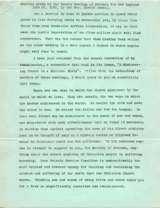 Address given at the Yearly Meeting of Friends for New England June 26, 1942, by Rev. Harold Bonell