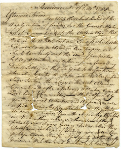 Letter from Moses Brown to Samuel Elliot
