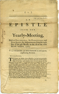 An epistle from our Yearly-Meeting, held at Philadelphia : for Pennsylvania and New-Jersey, by adjournments, from the 24th day of the 9th month, to the 1st of the 10th month, inclusive, 1774