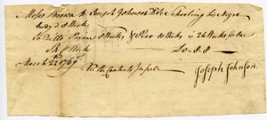 Receipt from Joseph Johnson to Moses Brown for educating Cudge, Prime, and Pero, three men before their emancipation