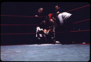 Boxer and trainers in the corner of the ring