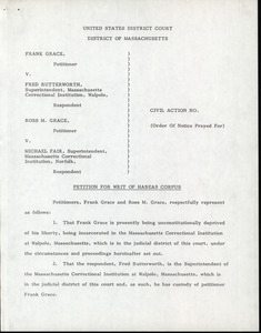 Grace and Grace v. Butterworth and Fair: petition for writ of habeas corpus