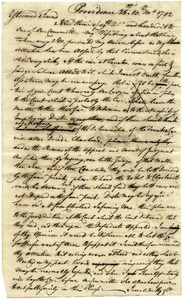 Draft of letter from Moses Brown to Samuel Elliot