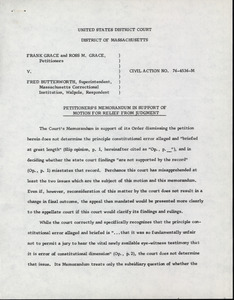Grace and Grace v. Butterworth: petitioner's memorandum in support of motion for relief from judgement