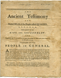 The ancient testimony and principles of the people called Quakers , renewed