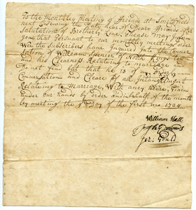William Hall et al., certificate of clearness for William Spencer to be married