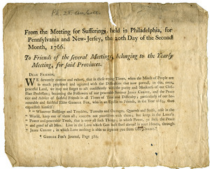 From the Meeting for Sufferings, held in Philadelphia, for Pennsylvania and New-Jersey, the 20th day of the second month, 1766