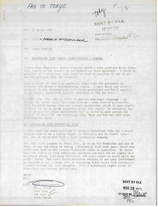 Fax from James Erskine to Mark H. McCormack