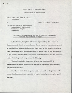 Grace and Grace v. Butterworth, 1978: affidavit in support of motion to proceed on appeal without prepayment of fees