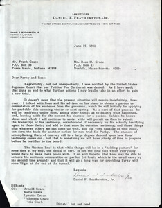 Letter from Daniel Featherston to Frank 'Parky' Grace and Ross Grace