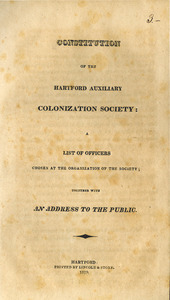 Constitution of the Hartford Auxiliary Colonization Society