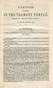 A lecture delivered in the Tremont Temple, Boston, Massachusetts, on the 24th January, 1856