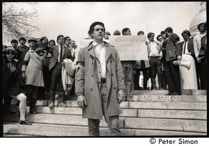 Demonstration on steps of the Massachusetts State House following the assassination of Martin Luther King: white demonstrator wearing Resistance arm band