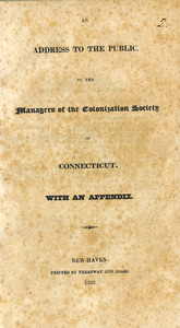 An address to the public by the managers of the Colonization Society of Connecticut