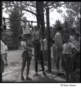 Camp Arcadia: campers doing chinups