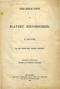 The Bible view of slavery reconsidered