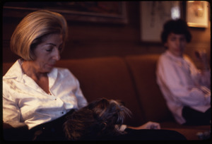 Middle-aged woman and her Yorkshire terrier seated on a sofa, a boy looks on