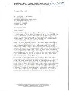 Letter from Mark H. McCormack to Charles R. Bronfman