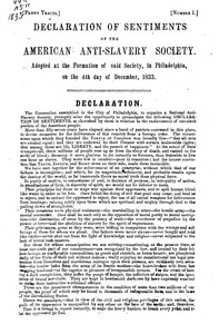 Declaration of sentiments of the American Anti-Slavery Society