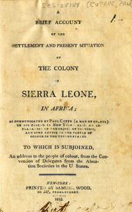 A brief account of the settlement and present situation of the colony of Sierra Leone, in Africa