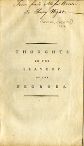 Thoughts on the slavery of the Negroes
