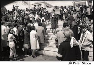 Demonstration on steps of the Massachusetts State House following the assassination of Martin Luther King: demonstrators on the steps