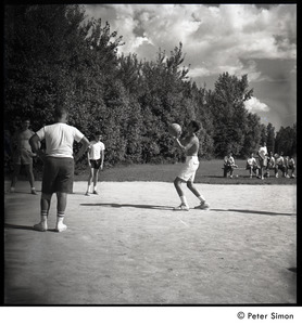 Camp Arcadia: campers playing basketball (shooting a freethrow)