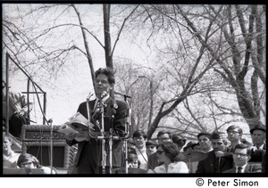 Resistance on the Boston Common: Staughton Lynd addressing the crowd, Noam Chomsky (far right) waiting on stage