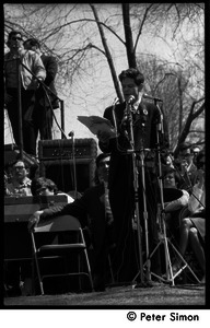 Resistance on the Boston Common: Staughton Lynd addressing the crowd; Howard Zinn on stage behind