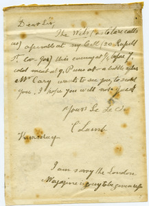 Charles Lamb letter to Bryan Waller Procter [i.e. Barry Cornwall]
