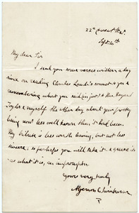 Algernon C. Swinburne letter to Bryan Waller Procter [i.e. Barry Cornwall]