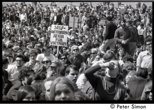 Resistance on the Boston Common: view of the crowd: sign reading 'Self determination for Vietnam'