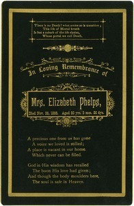 In loving remembrance of Mrs. Elizabeth Phelps