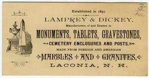 Lamprey & Dickey, Manufacturer of and Dealers in Monuments, Tablets, Gravestones