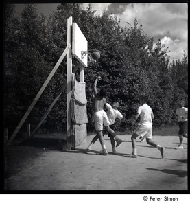 Camp Arcadia: campers playing basketball