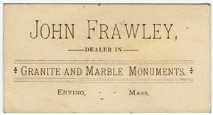 John Frawley Dealer in Granite and Marble Monuments