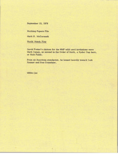 Memorandum from Mark H. McCormack to working papers file