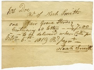 Invoice to Joseph Doe for purchase of a pair of gravestones