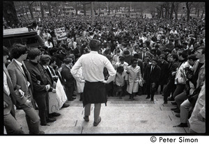 Demonstration on steps of the Massachusetts State House following the assassination of Martin Luther King: demonstrators ascending the steps