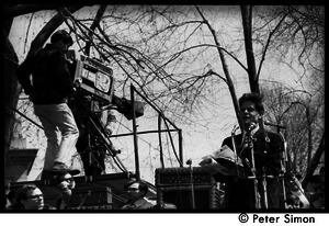 Resistance on the Boston Common: television cameraman filming Staughton Lynd addressing the crowd