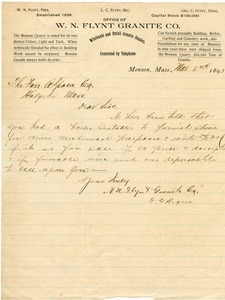 Letter from W.N. Flynt Granite Co. to the Farr Alpaca Co.