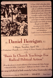 Poster for talk by Daniel Berrigan, 'Basis in church teachings for radical political action,' in support of war tax resisters Randy Kehler and Betsy Corner