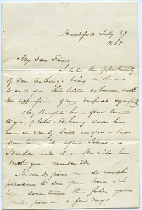 Letter from Harriet Beecher Stowe to Sarah F. Tobey