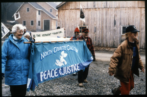Supporters at home of war tax resisters Randy Kehler and Betsy Corner, representing the North Country Coalition for Peace and Justice