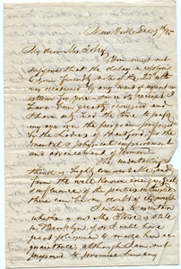 Letter from Alexander T. Stewart to Sarah F. Tobey