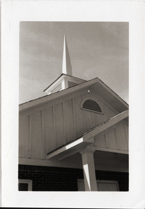 Antioch Church (Blue Mountain, Miss.) after reconstruction (view of the front and spire)
