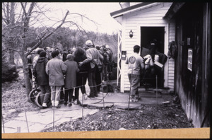 Supporters gathered at the home of war tax resisters Randy Kehler and Betsy Corner, around the time of their eviction